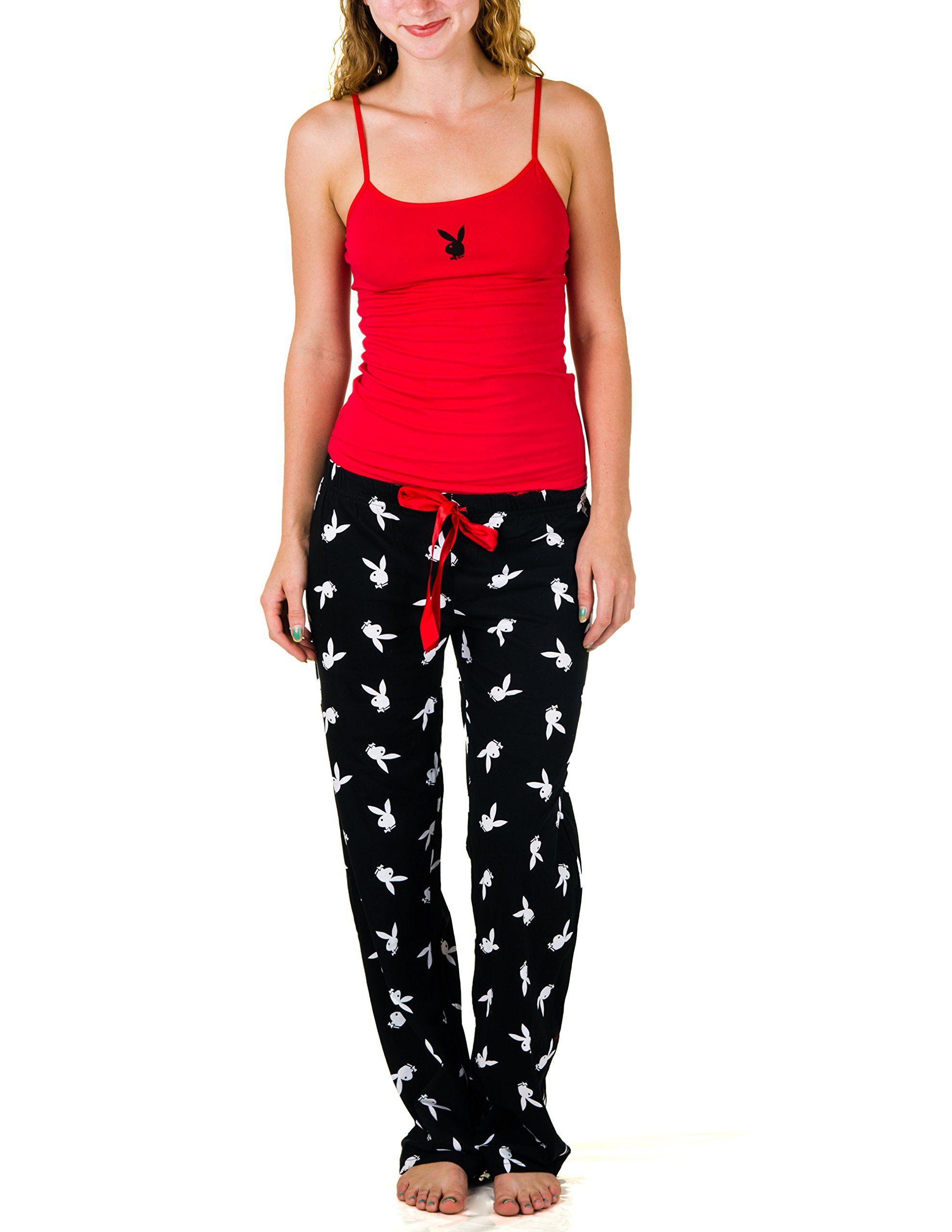 Amazon.com: Playboy Juniors Pajama Set with Cami and Drawstring ...