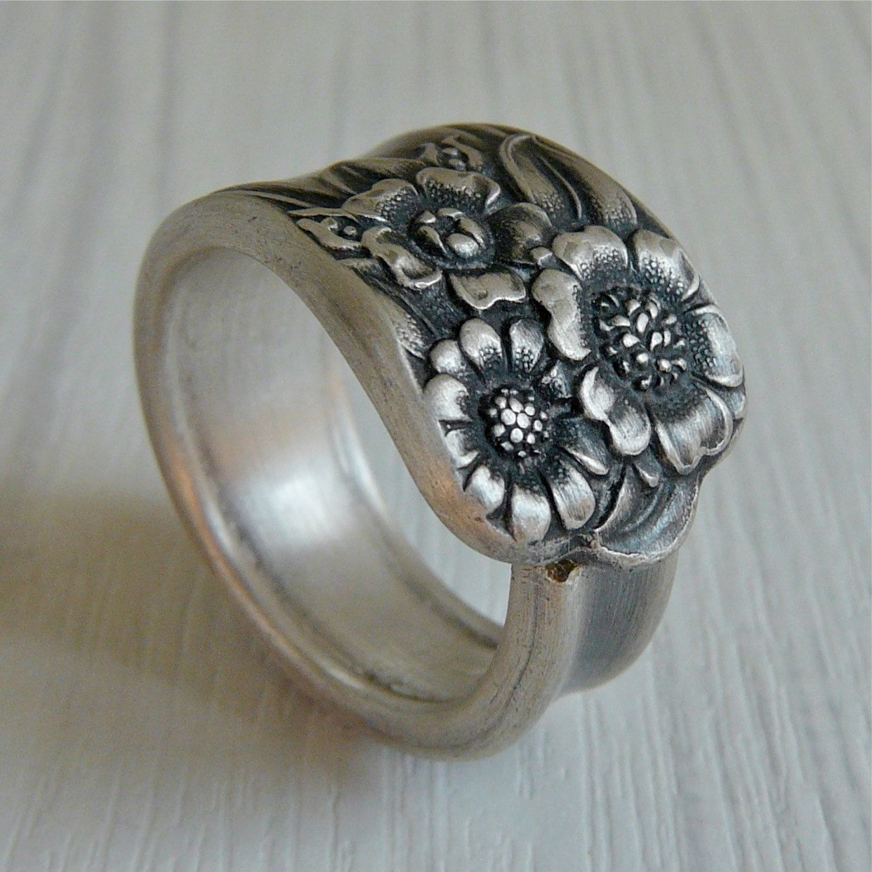Silver Spoon Ring April 1950 Womens wedding bands
