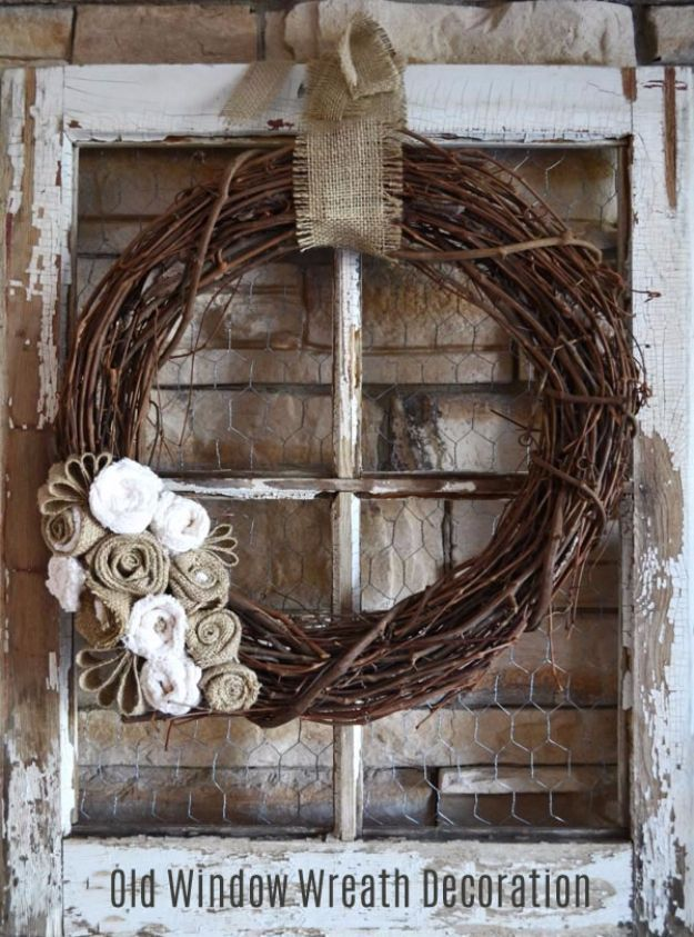 37 Creative Ways To Make Things From Old Windows   Windows     DIY Ideas With Old Windows   Old Window Wreath Decoration   Rustic  Farmhouse Decor Tutorials and Projects Made With An Old Window   Easy  Vintage Shelving