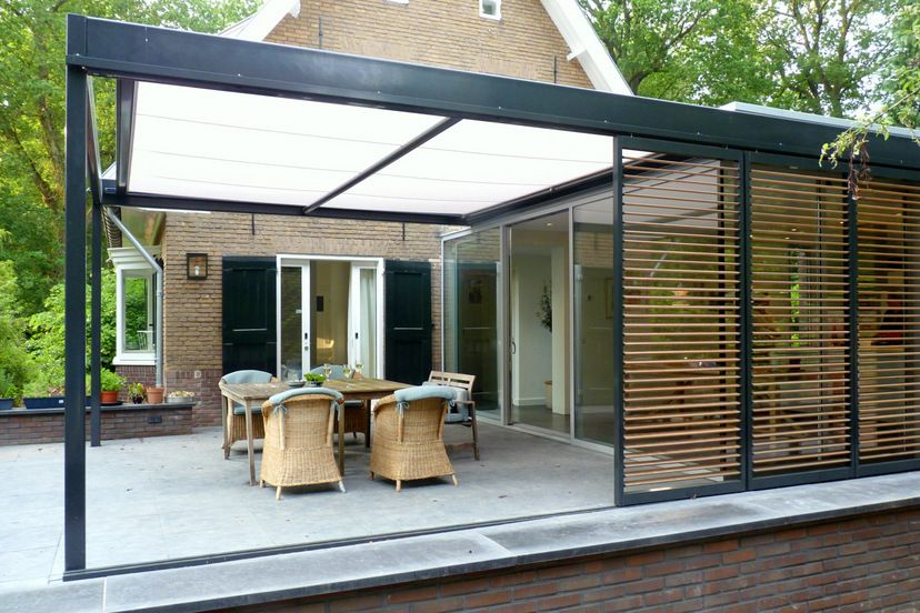 Tuinkamer uitbouw aanbouw glas staal hout rol zonwering uitbreidingen pinterest - Uitbreiding veranda ...