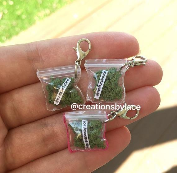 Handmade authentic Miniature Weed Bag Charm (FAKE WEED)