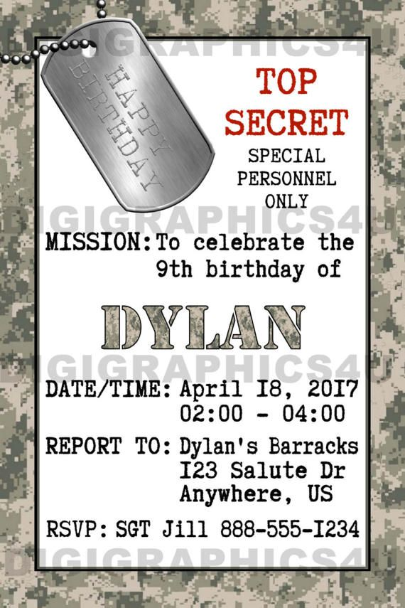 Army Marines Military Birthday Party Invitation