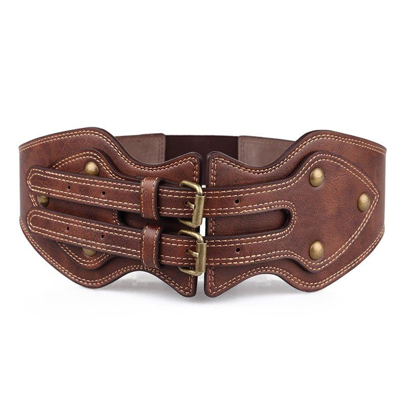 Vintage Corset Double Needle Buckle Lady Elastic Waist Belt PU Leather Rivet Wide Waist Corset