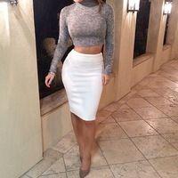 Long Sleeve Knee Length 2 pieces Set Women White Dress 2015 ...