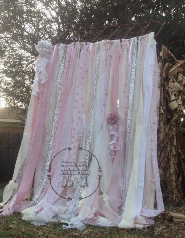 Photo of Shabby Chic Curtains Vintage Rachel Ashwell Fabric Ribbon and Sequin Backdrop Pink White Ivory Sparkle Silver Rag Garland Boho Lace Curtains