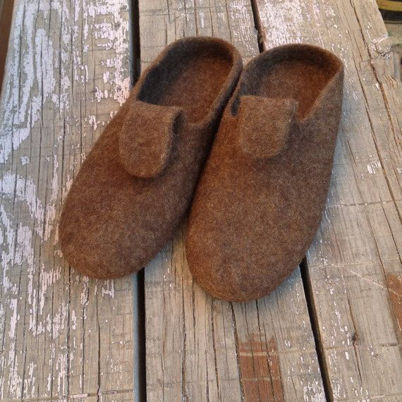 Men felted wool slippers organic house shoes by ecoFeltedSlippers