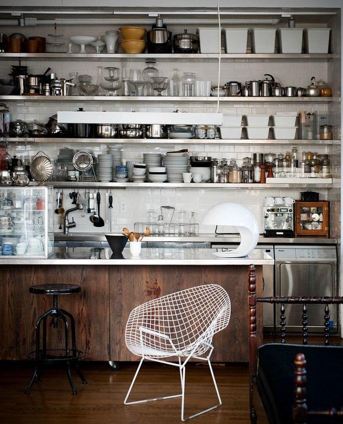 kücheneinrichtung offene regale industrieller stil Küchen - offene küchen beispiele