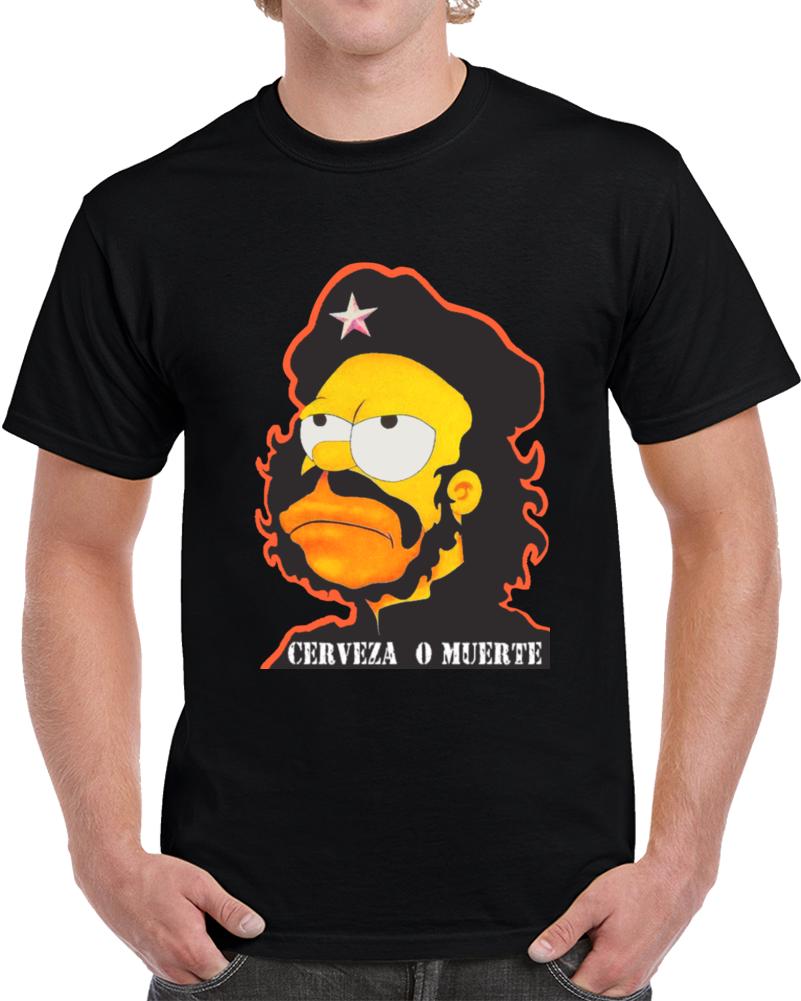 62ae864d7 Che Guevara Homer Simpson Cerveza O Muerte T Shirt
