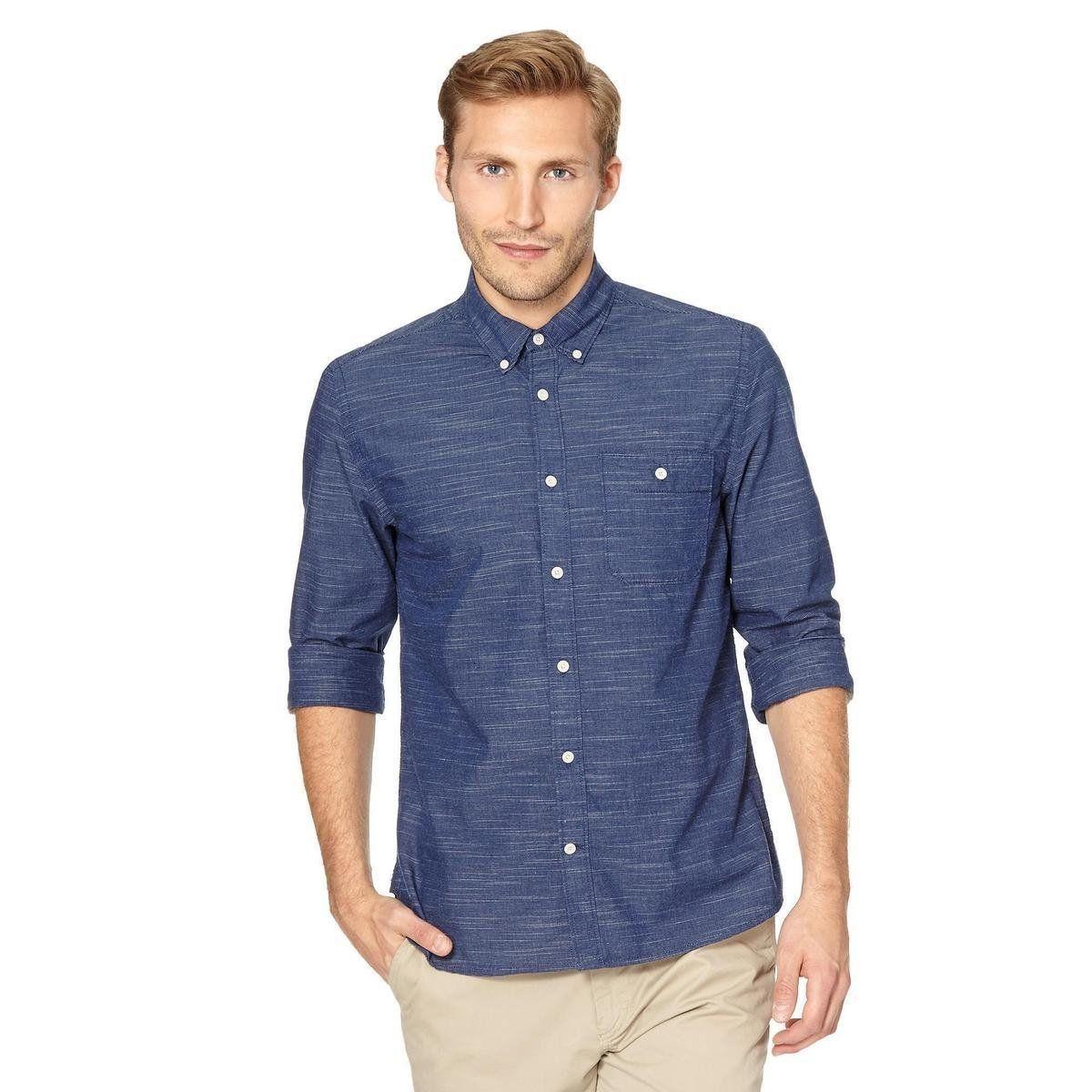 Big and tall designer dark blue striped button down collar shirt ...