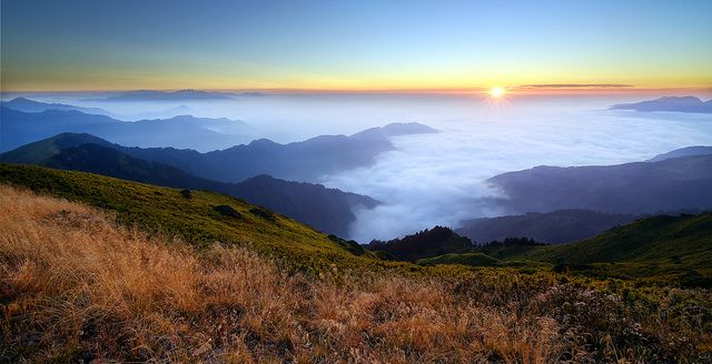 sea of clouds at sunset