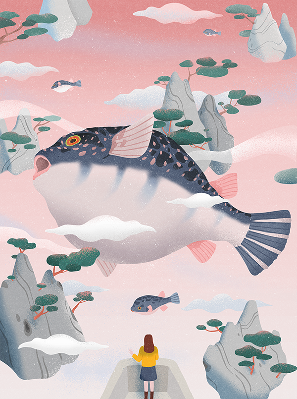 The Dream Of The Puffer Fish On Behance Puffer Fish Art Fish Illustration Fish Graphic