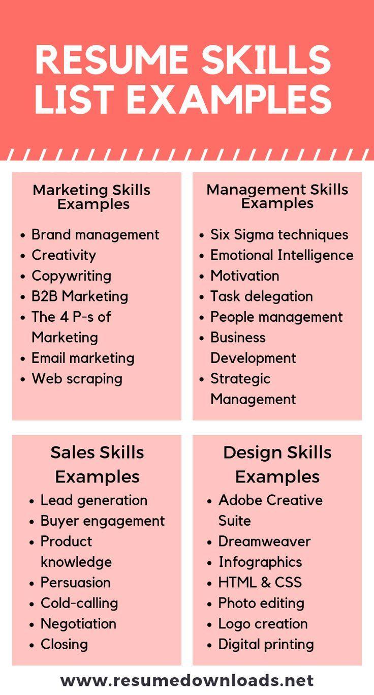 Resume Skills List in 2020 Resume skills list, Resume