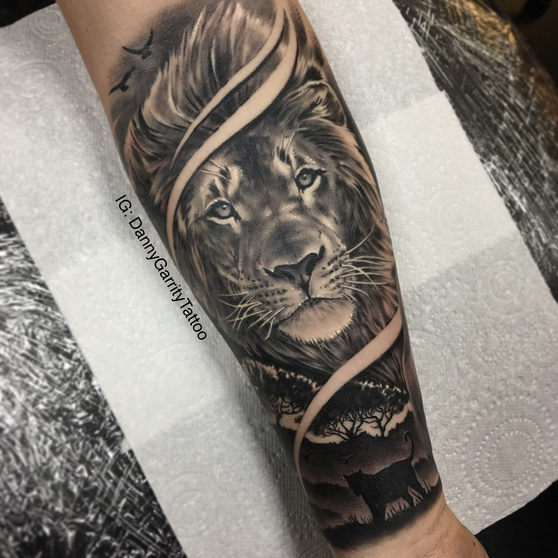 Men\'s forearm sleeve tattoo, lion with silhouette in realism ...