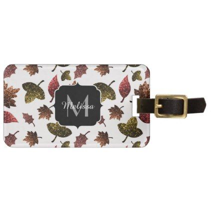 Sparkly Leaves Fall Autumn Sparkles Pattern Luggage Tag  Pattern
