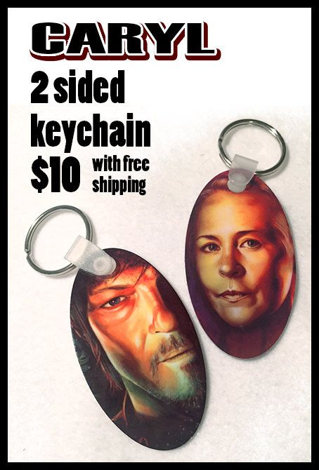 Caryl 2 sided metal keychain.