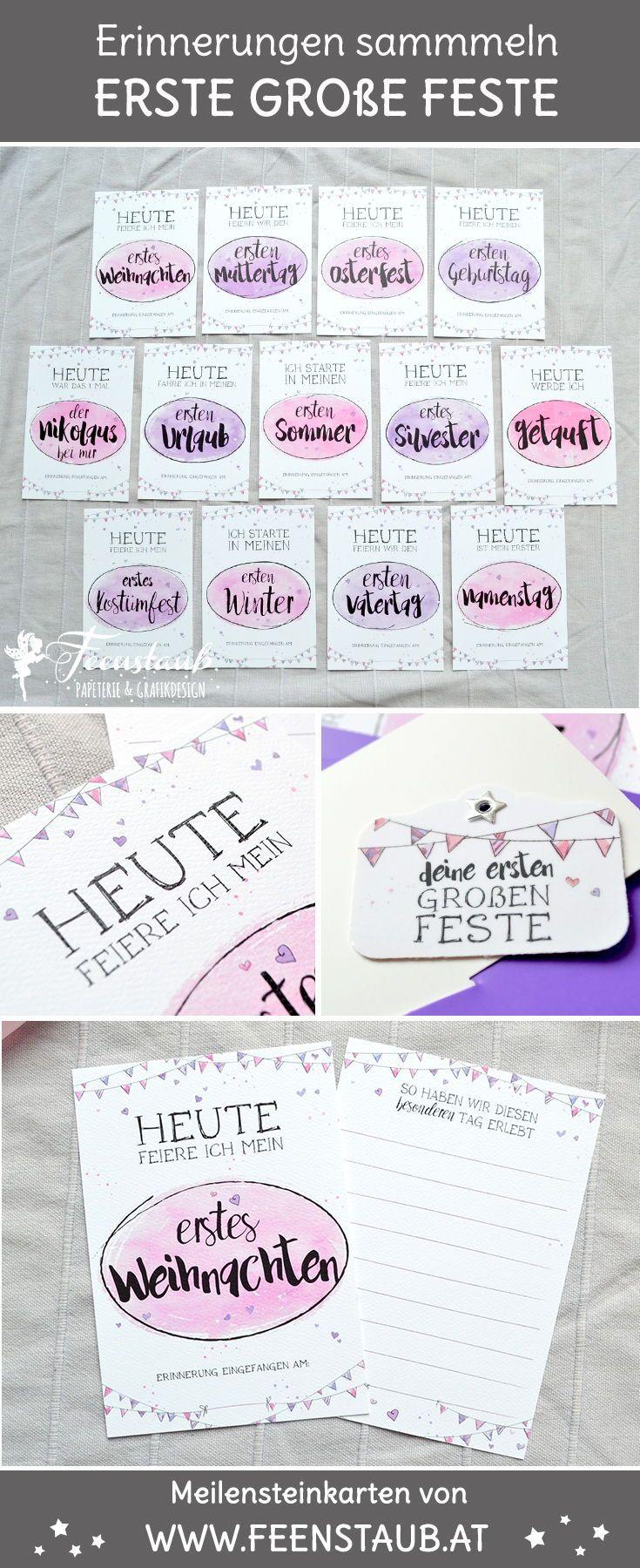 Meilensteinkarten für Babys erste Feste in Rosa   Babies