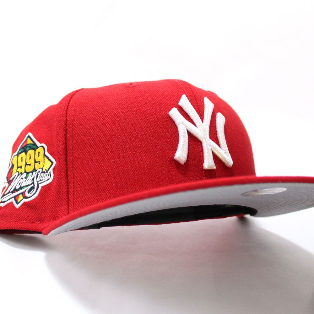 Newyorkyankees 1999 World Series 59fifty Fitted Neweracap In Red Grayunderbrim Ecapcity In 2021 Fitted Hats Hats For Men Nba Hats