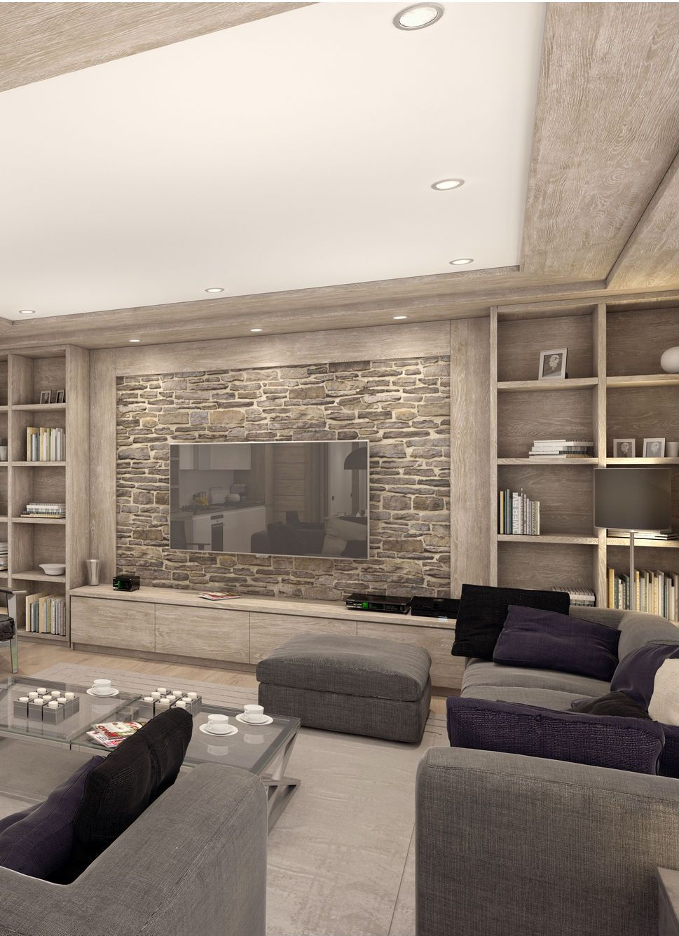 Gorgeous Country Living Room Design In Gray With A Stone Ac