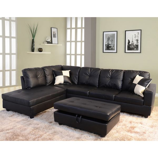 Delma 3-piece Faux Leather Left-facing Chaise Sectional Set - Overstock™ Shopping  sc 1 st  Pinterest : left facing chaise sectional - Sectionals, Sofas & Couches