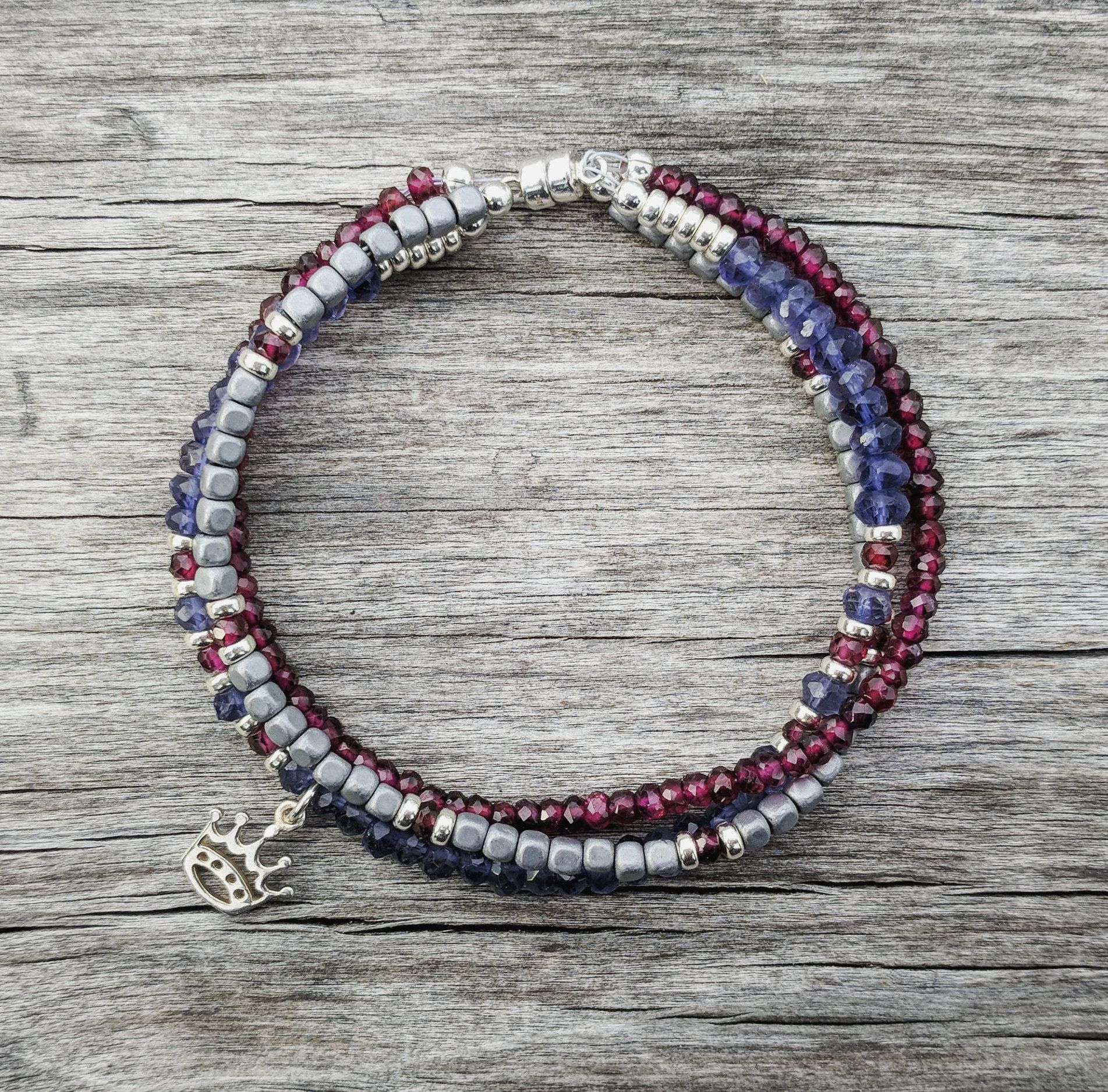 burgundy product spinel bracelet red dark aroma handmade gemstone with pyrite beaded jewelry garnet that black stone store