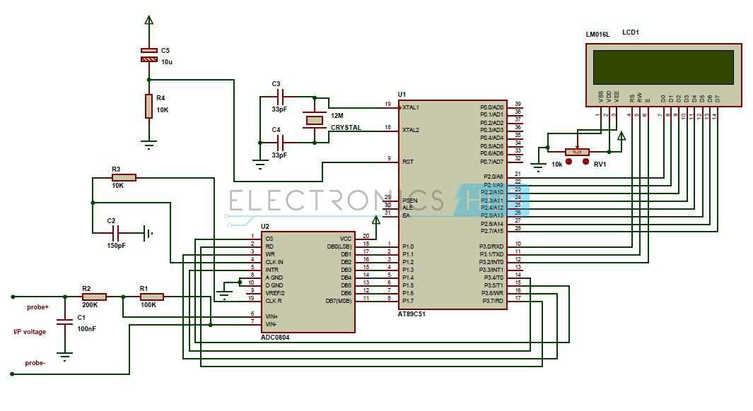 Voltmeter Circuit Diagram   Digital Voltmeter Circuit Using 8051 Arduino Pinterest Circuit