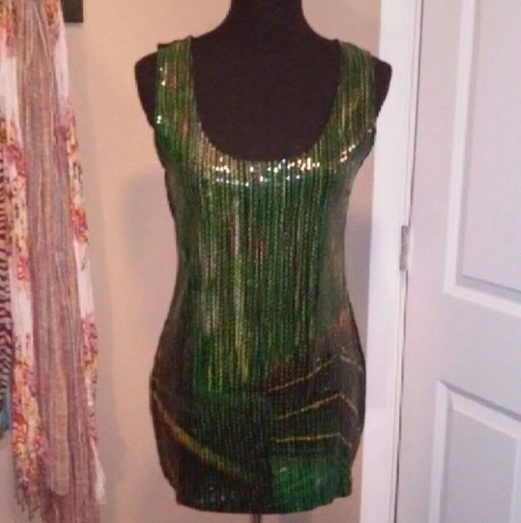 Gorgeous sequined tank Green sequined tank with hints of yellow with a black backing. Missing one sequin near the bottom, not really noticeable when wearing. Linea Domani Tops Tank Tops
