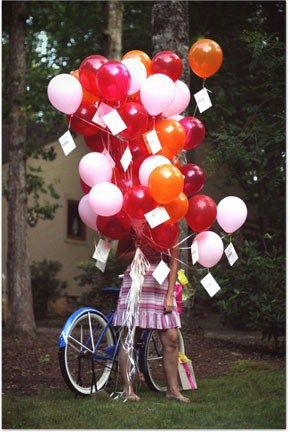 Balloons with birthday wish messages from guests
