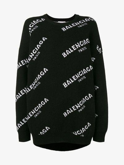 Balenciaga Logo Print Crew Neck Jumper