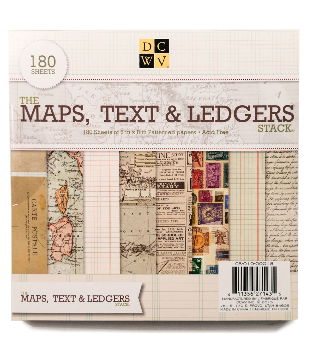 The Maps 180 sheets of patterned paper 8 x 8-inch pad Text /& Ledgers Stack by DCWV