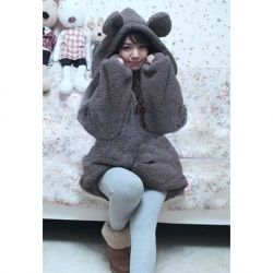 Cute Style Solid Color Loose-Fitting The Rabbit Model Long Sleeves Long Fleece Coat For Women