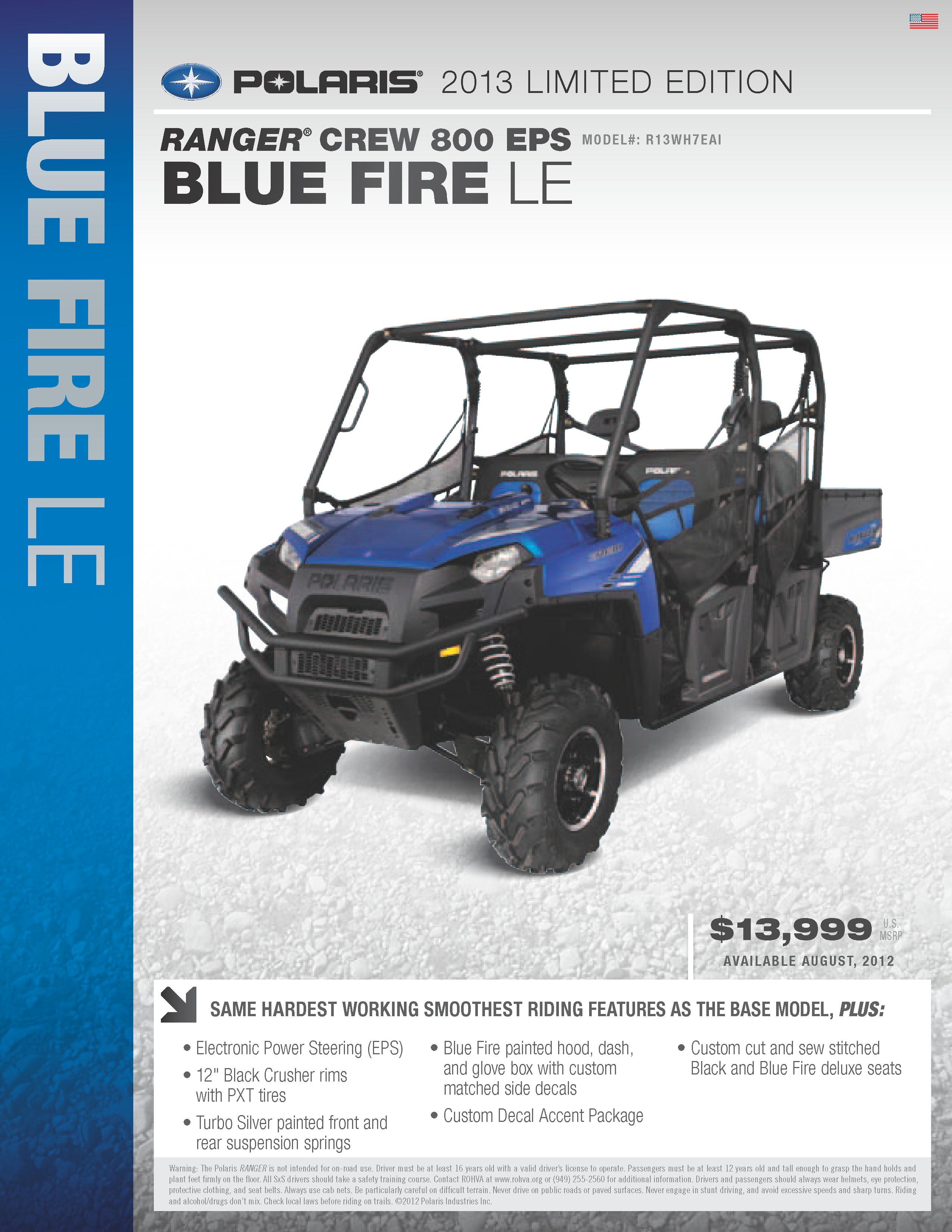 2013 Polaris Ranger Crew 800 - Blue Fire LE with EPS