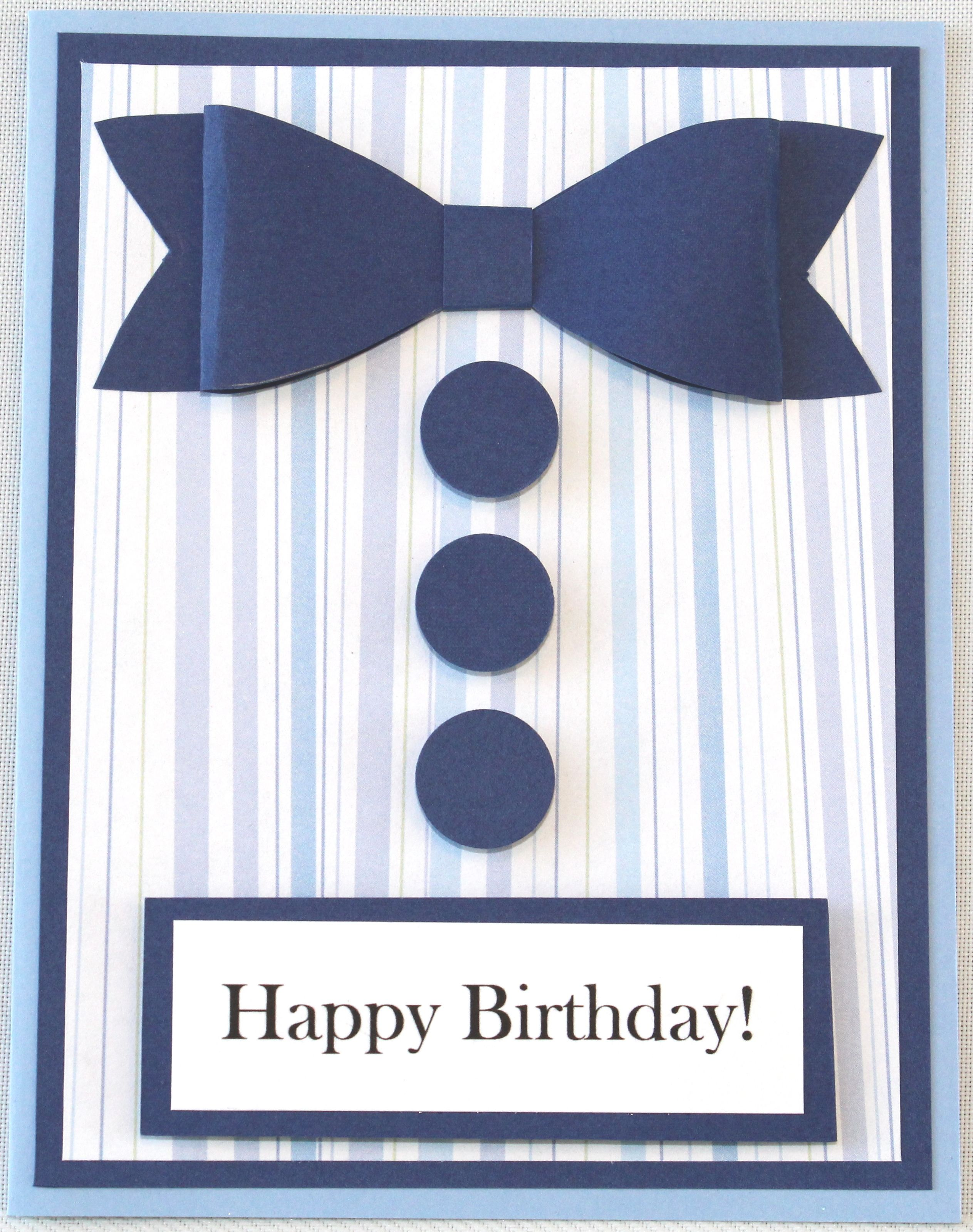 Happy Birthday Male Handmade 3 D Blue Striped Shirt With Navy Bow