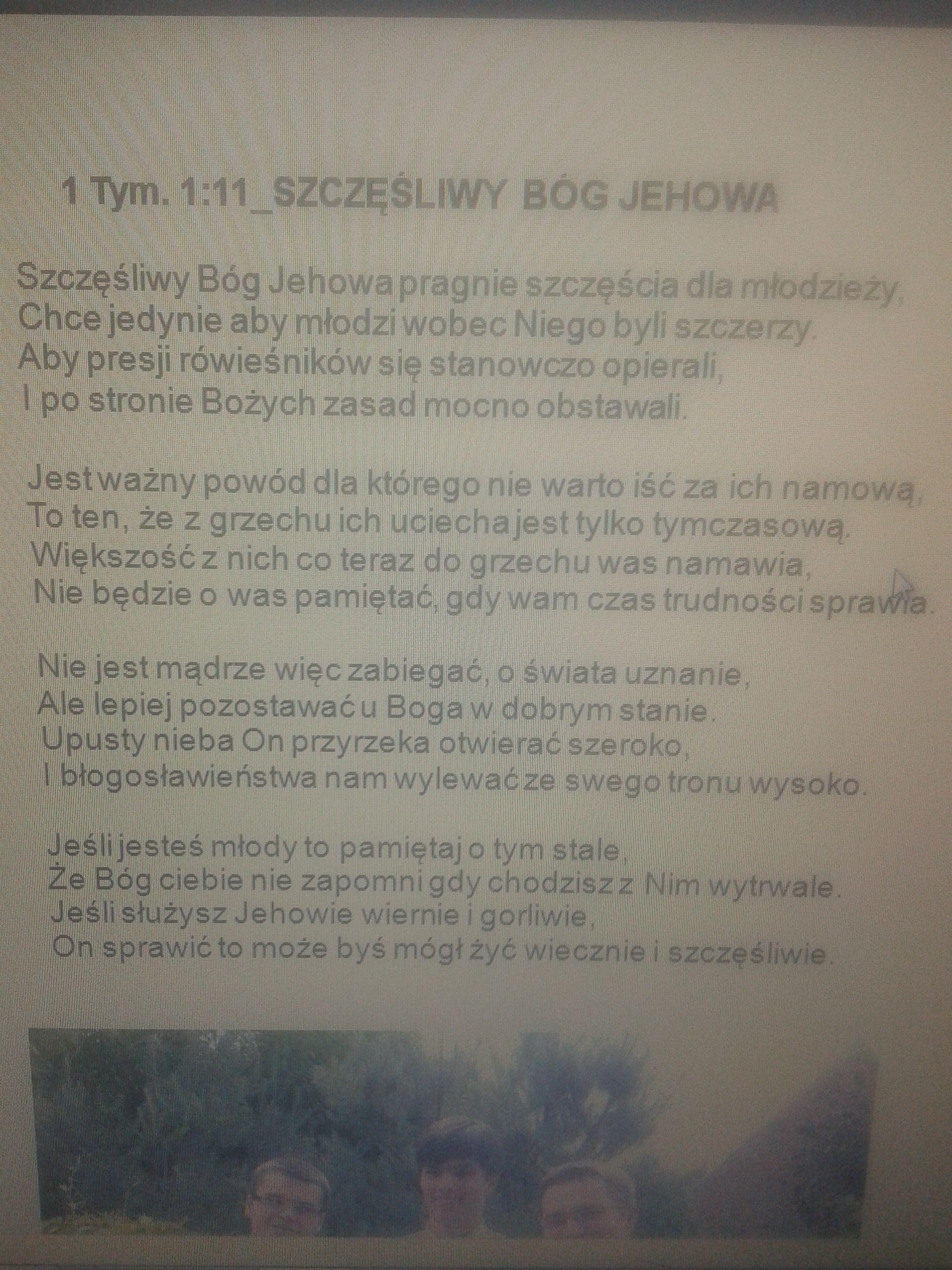 Szczęśliwy Bóg Jehowa Wiersze Teokratyczne świadek Jehowy