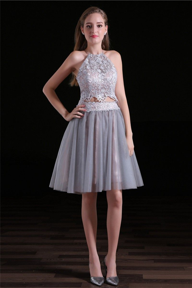 Lovely two piece silver tulle lace short party prom dress silver