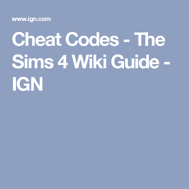 the sims 4 pc cheats