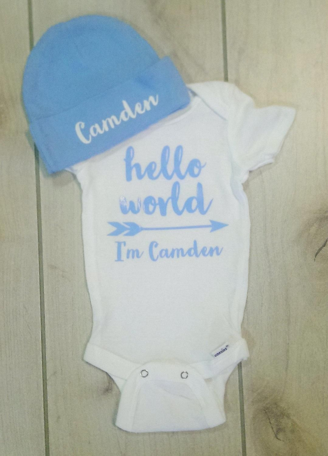 Personalized Boy s Hello World Onesie with light blue beanie hat set. Boy s  Bring Home Outfit. Boy s Newborn Outfit. Take Home Outfit. d6e72942497e