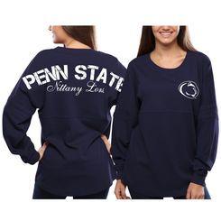 Women s Penn State Nittany Lions Navy Blue Pom Pom Jersey Oversized Long  Sleeve… f013e753a