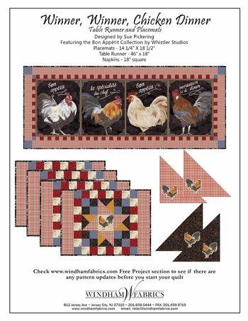 """Winner Winner Chicken Dinner""  Patterns can be downloaded for free on www.windamfabrics.com"