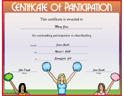 printable certificates this illustrated cheerleading certificate is to be presented to any cheerleader or an entire cheer team
