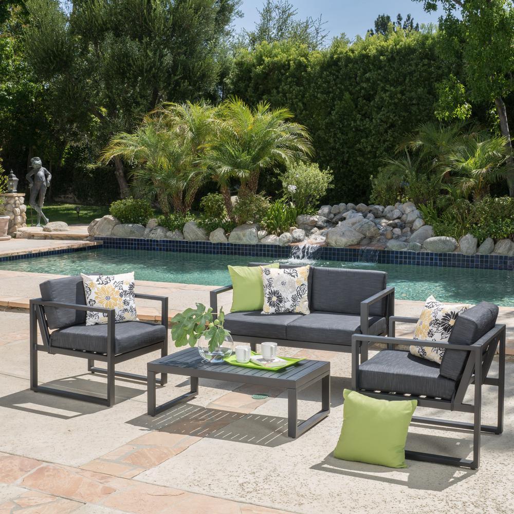 Noble House Navan Dark Gray 4 Piece Aluminum Patio Conversation Set With Dark Grey Cushions 9395 In 2020 With Images Conversation Set Patio Patio Furniture Sets Patio