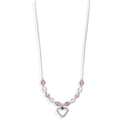 """13"""" + 2"""" Extension Crystal and Liquid Silver Necklace with Open Heart Drop"""