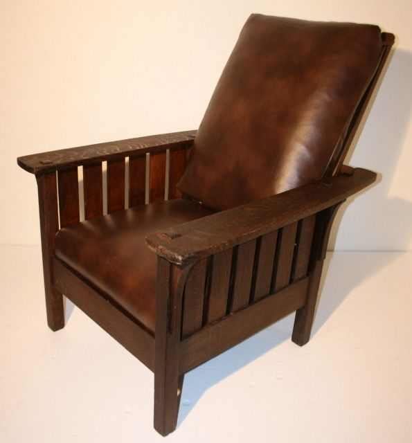 Mission Style Furniture Denver: Vintage Signed L&jg Stickley Morris Chair Oak Craftsman