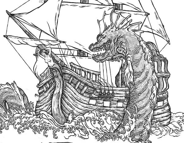 sea serpent coloring pages | Image result for medieval sea monster | Sea Monsters | Sea ...