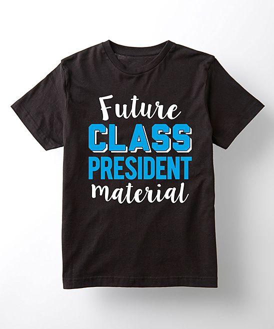 Black 'Future Class President Material' Tee - Kids
