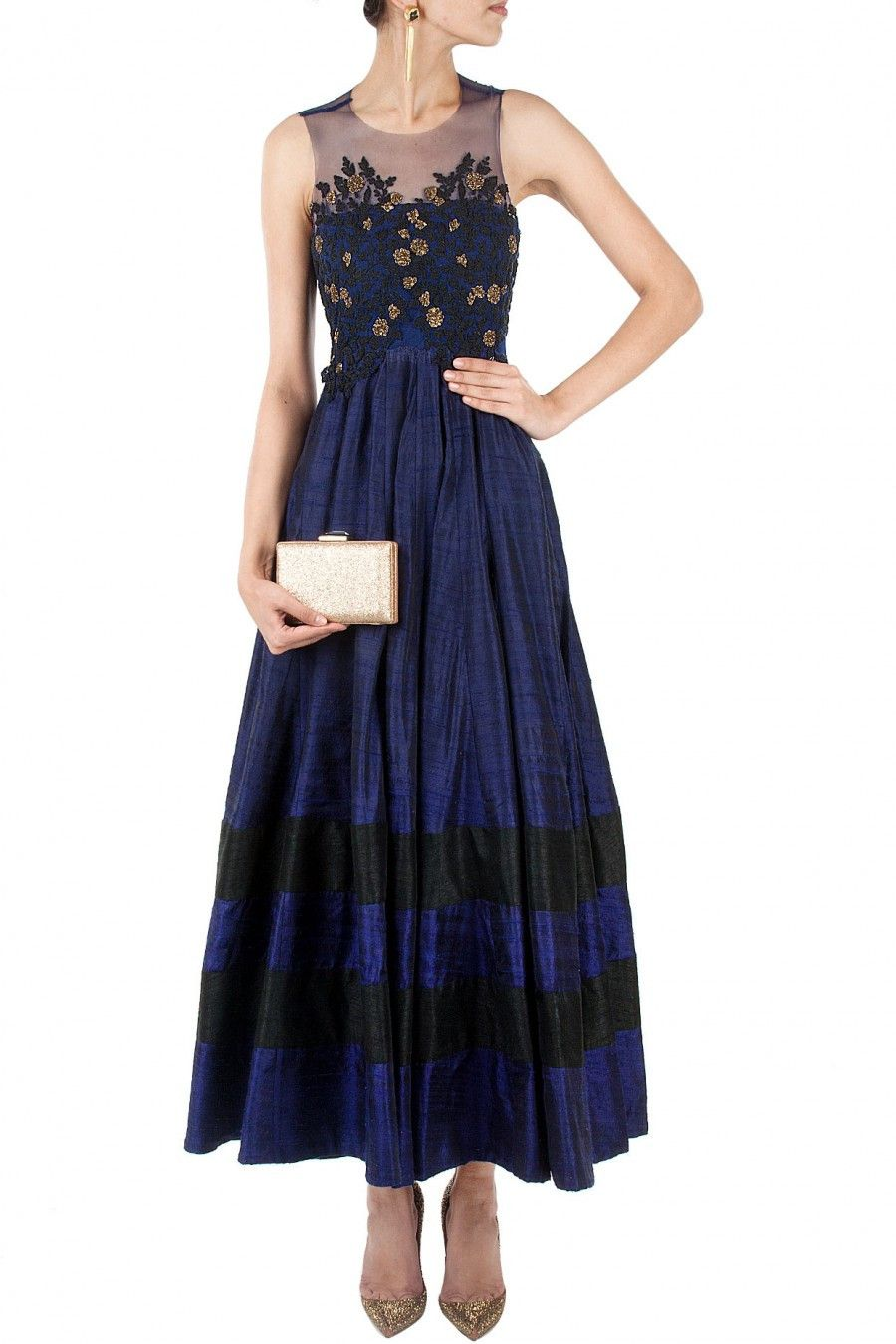 Navy blue color long anarkali suit in love it pinterest