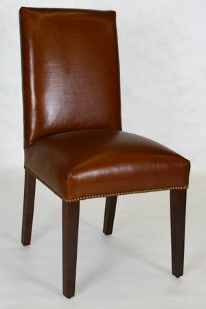 Straight Back Dining Chair with Tapered Legs & Nailhead ...