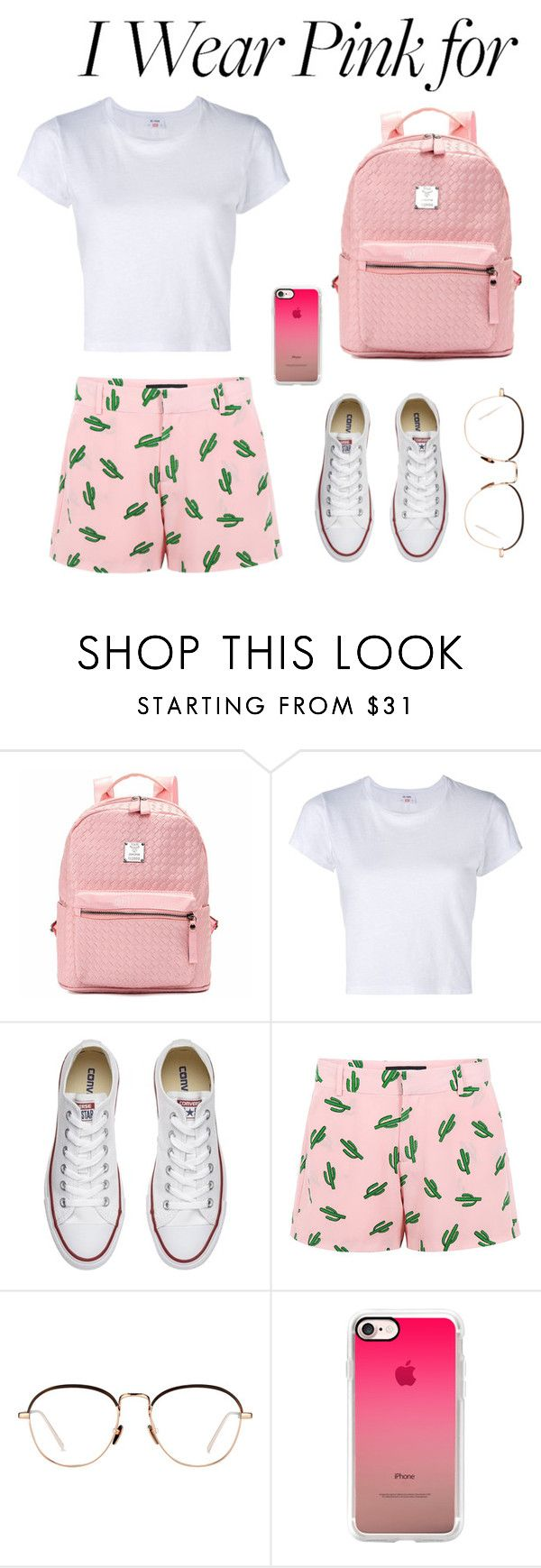 """""""Untitled #92"""" by lazymarmot ❤ liked on Polyvore featuring RE/DONE, Converse, American Retro, Linda Farrow, Casetify and IWearPinkFor"""