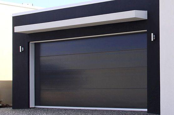 Black Insulated Panel Contemporary Garage Door Doors Painted Timber