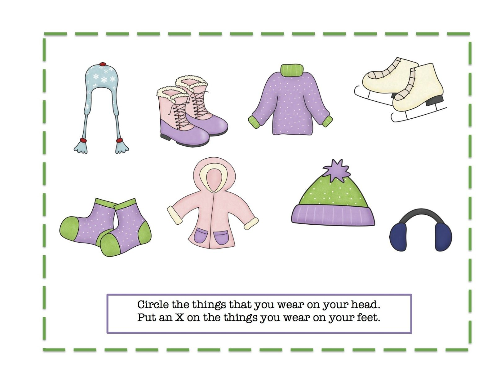Winter clothes Printable Preschool printables