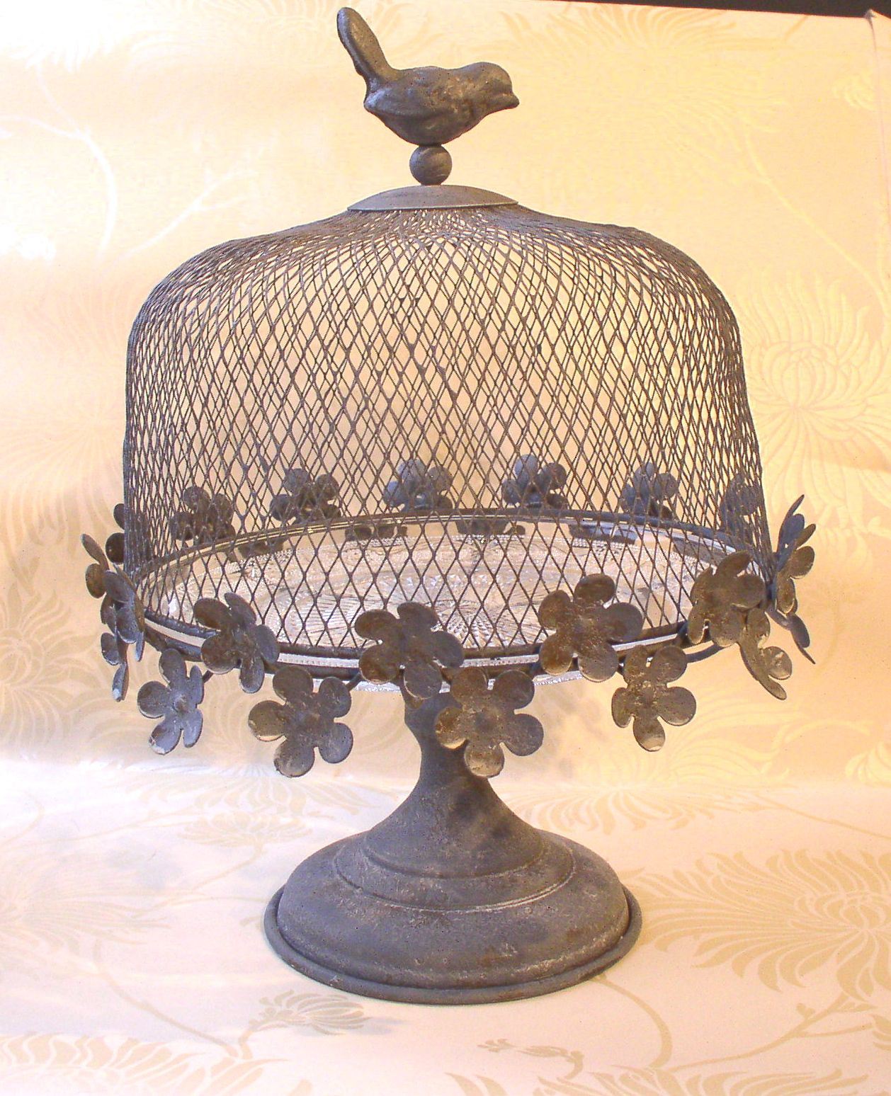 Antique Metal Cake Stand W Cover